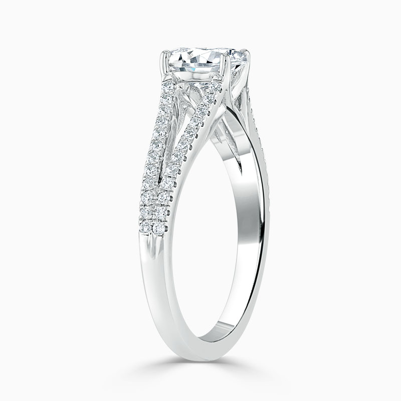 Platinum Oval Shape Cutdown Split Shoulder Engagement Ring