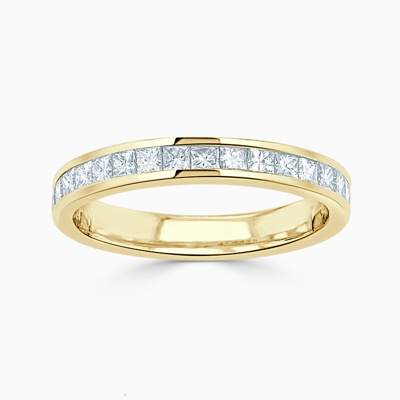 18ct Yellow Gold 2.75mm Princess Cut Channel Set Half Eternity Ring
