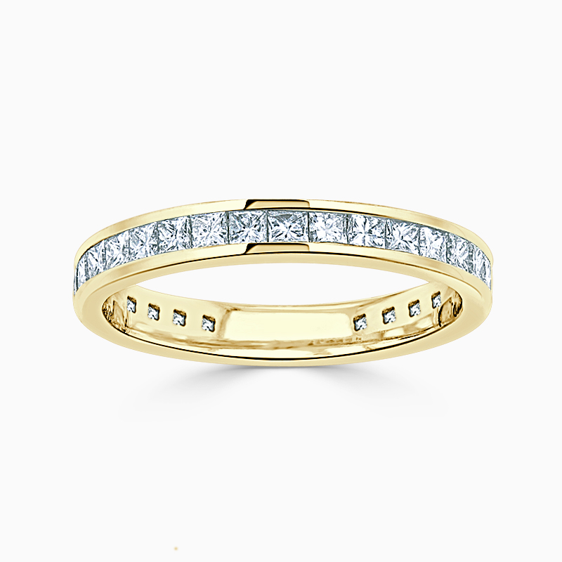 18ct Yellow Gold 2.50mm Princess Cut Channel Set Three Quarter Eternity Ring
