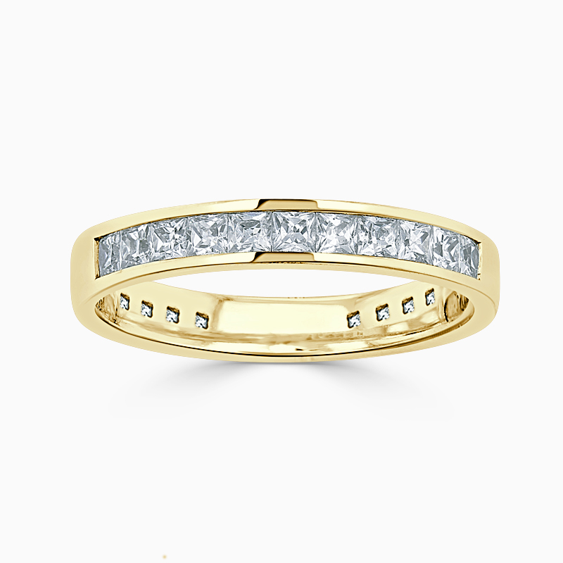 18ct Yellow Gold 3.50mm Princess Cut Channel Set Three Quarter Eternity Ring