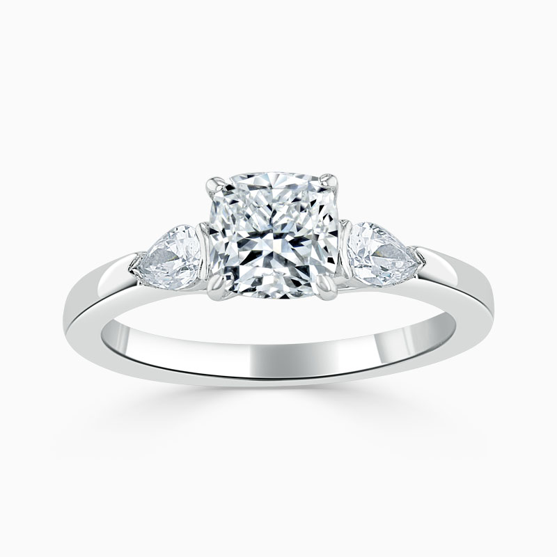Platinum Cushion Cut 3 Stone with Pears Engagement Ring