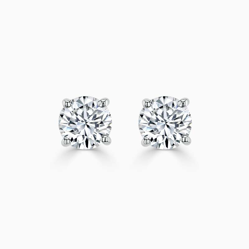18ct White Gold Pear Shape Diamond Stud Earrings - (0.40ct)